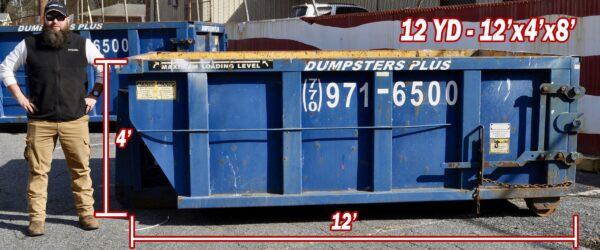 12 Cubic Yard Dumpster – 12′ Long x 4′ High x 8′ Wide