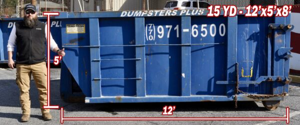 15 Cubic Yard Dumpster – 12′ Long x 5′ High x 8′ Wide
