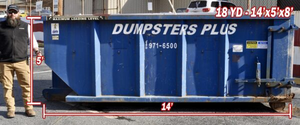 18 Cubic Yard Dumpster – 14′ Long x 5′ High x 8′ Wide
