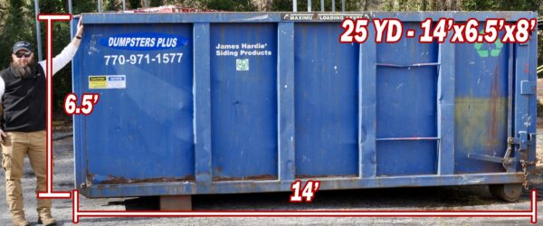 25 Cubic Yard Dumpster – 14′ Long x 6.5′ High x 8′ Wide